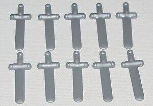 Lego-Lote-De-10-Nuevo-Perla-Gris-Claro-Minifigura-espadas-Minifig-piezas-de-armas