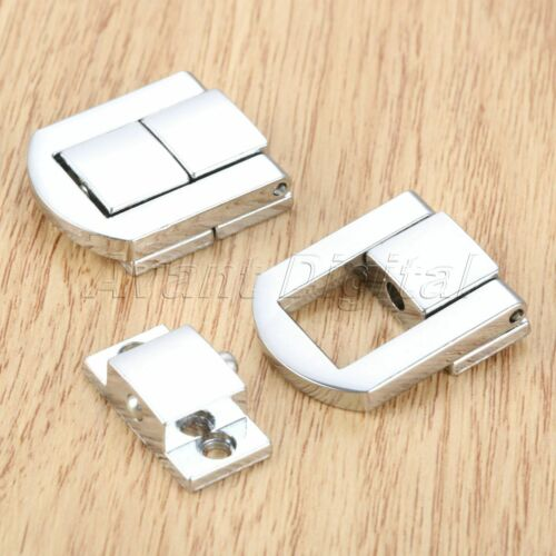 2pcs Cabinet Latch Clasp Buckle Wooden Wine Gift Box Chest Lock Hasp Silver Tone