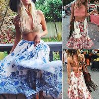 Women BOHO Hippy Gypsy Floral Long Maxi Skirt Casual Summer Beach Wrap Sun Dress