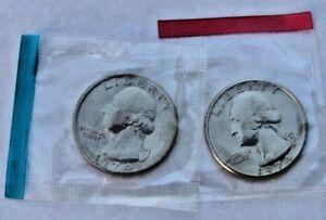 2 COINS 1996-P /& D UNCIRCULATED WASHINGTON QUARTERS IN MINT CELLO
