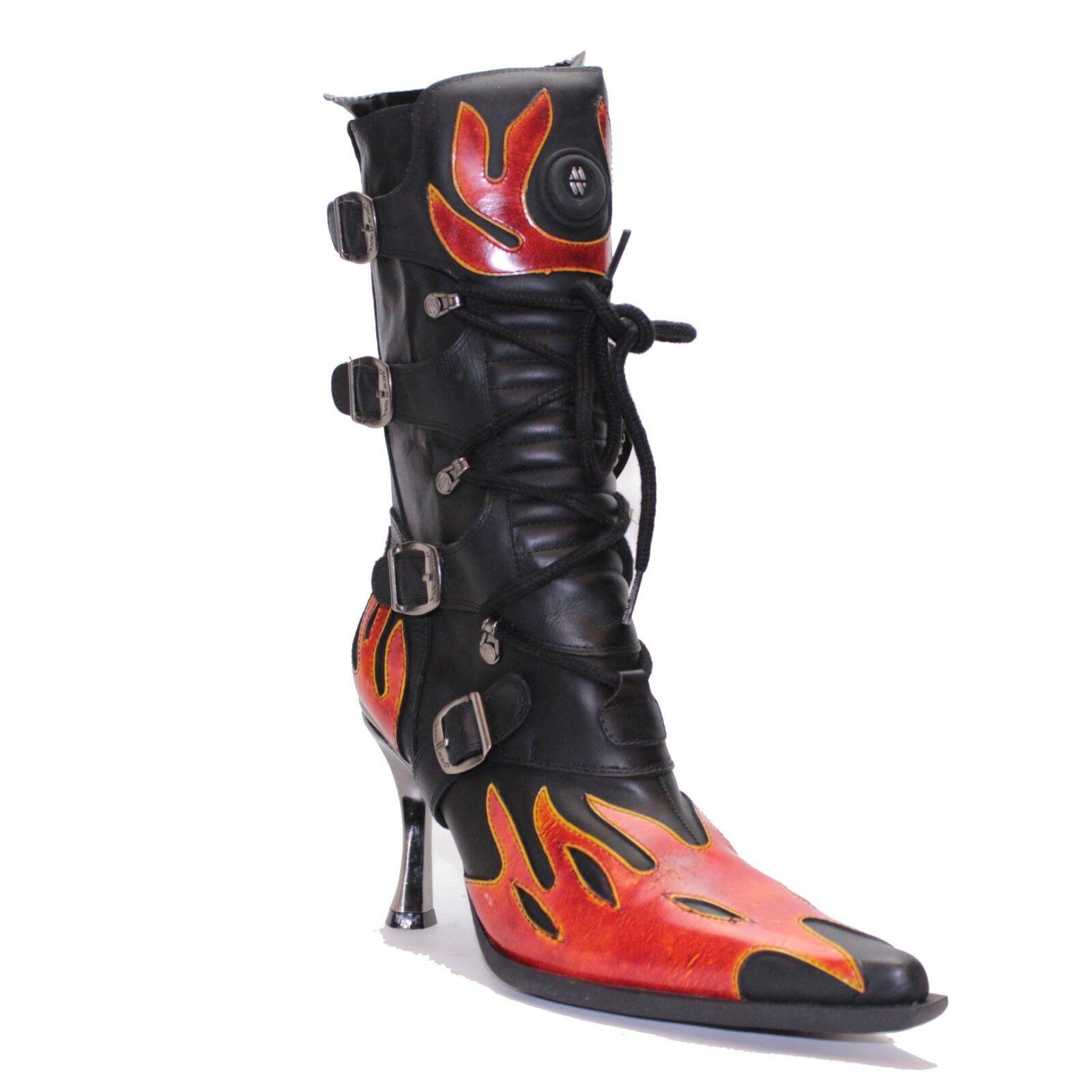 New Rock M.9591-S1 Flame Punk Rock Alternative Goth High Heel Stiefel UK 6.5 EU 40