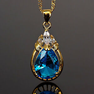 Riva-Schmuck-18K-Gold-Vergoldet-Birne-Aquamarin-Geschenk-Anhaenger-Halskette