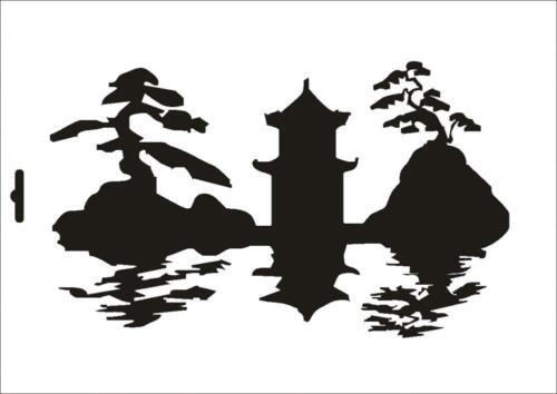 Wandschablone Maler T-shirt Schablone W-086 Skyline ~ UMR Design
