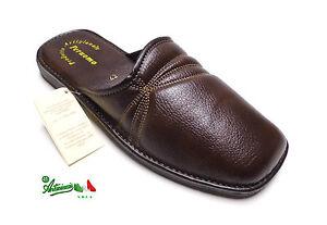 100% originale stile squisito trova il prezzo più basso Détails sur Pantofole ciabatte uomo PERUOMO by LINA comode punta chiusa  solettapelle marrone