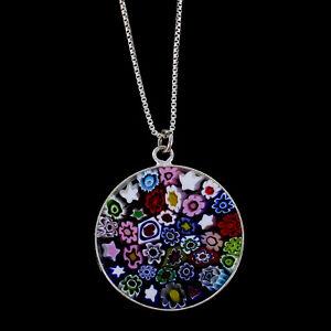 Millefiori-Murano-Glass-Sterling-Silver-Pendant-on-Chain-Necklace