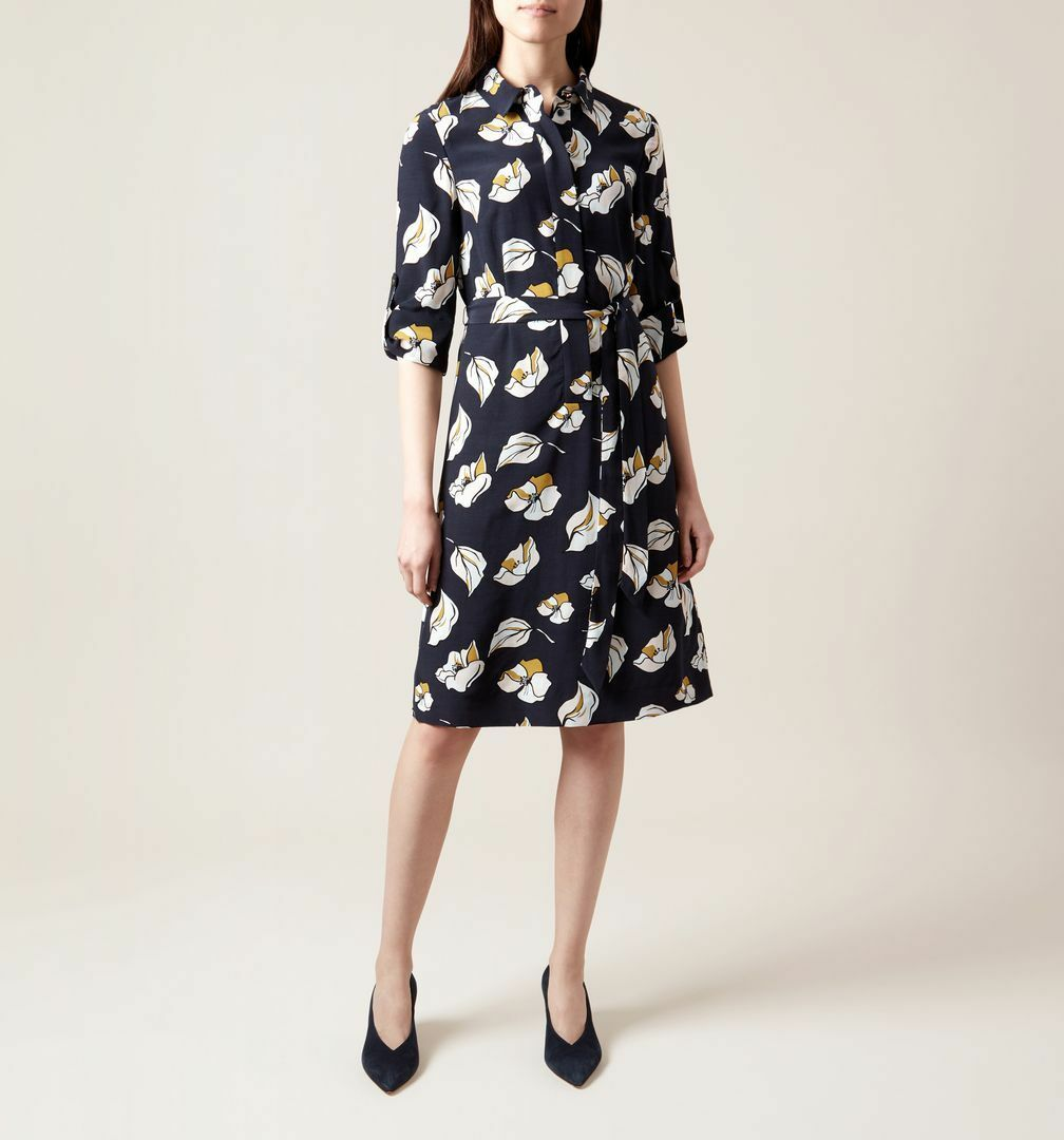 HOBBS LONDON Beatrice Floral Print Shirt Dress New with Tags US 2