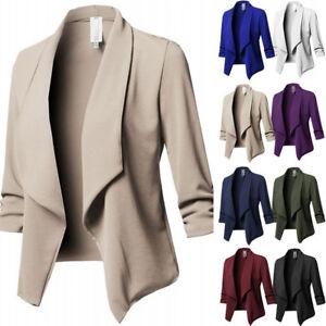 903dd3b635a4fe Das Bild wird geladen Damen-Langarm-Mantel-Cardigan-Business-Arbeit-Jacke- Blazer-