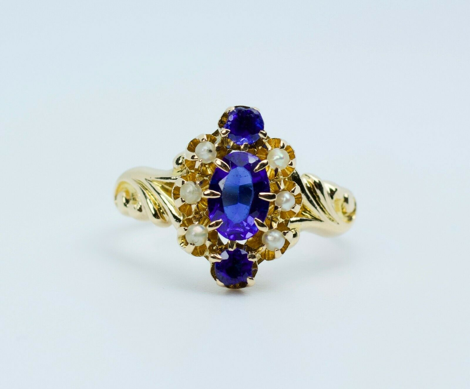 Vintage 14k Yellow Gold Oval Blue Synthetic Sapph… - image 2