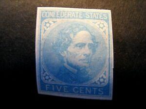1862 US S# CSA 7, 5c Confederate States Jeff Davis blue MNH OG f-vf Nice
