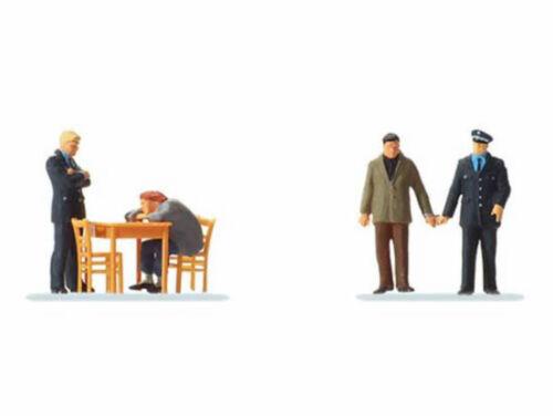 Preiser 10590 durante l/'interrogatorio 4 personaggi con accessori polizia criminale h0 NUOVO