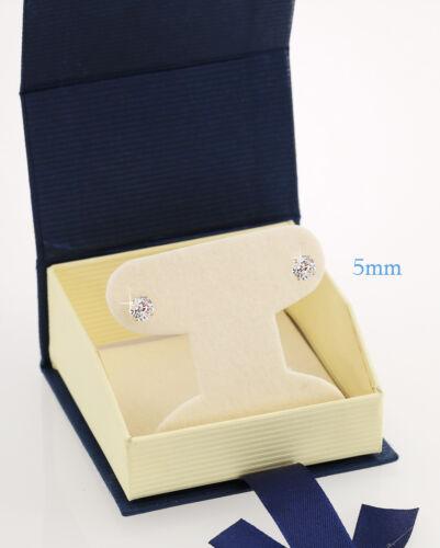 14K White Gold Round CZ Stud Basket Earrings with Screw Backs for Kids//Women