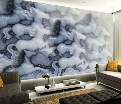 3D whitee Jade Pferd 3787 Fototapeten Wandbild Fototapete BildTapete Familie DE