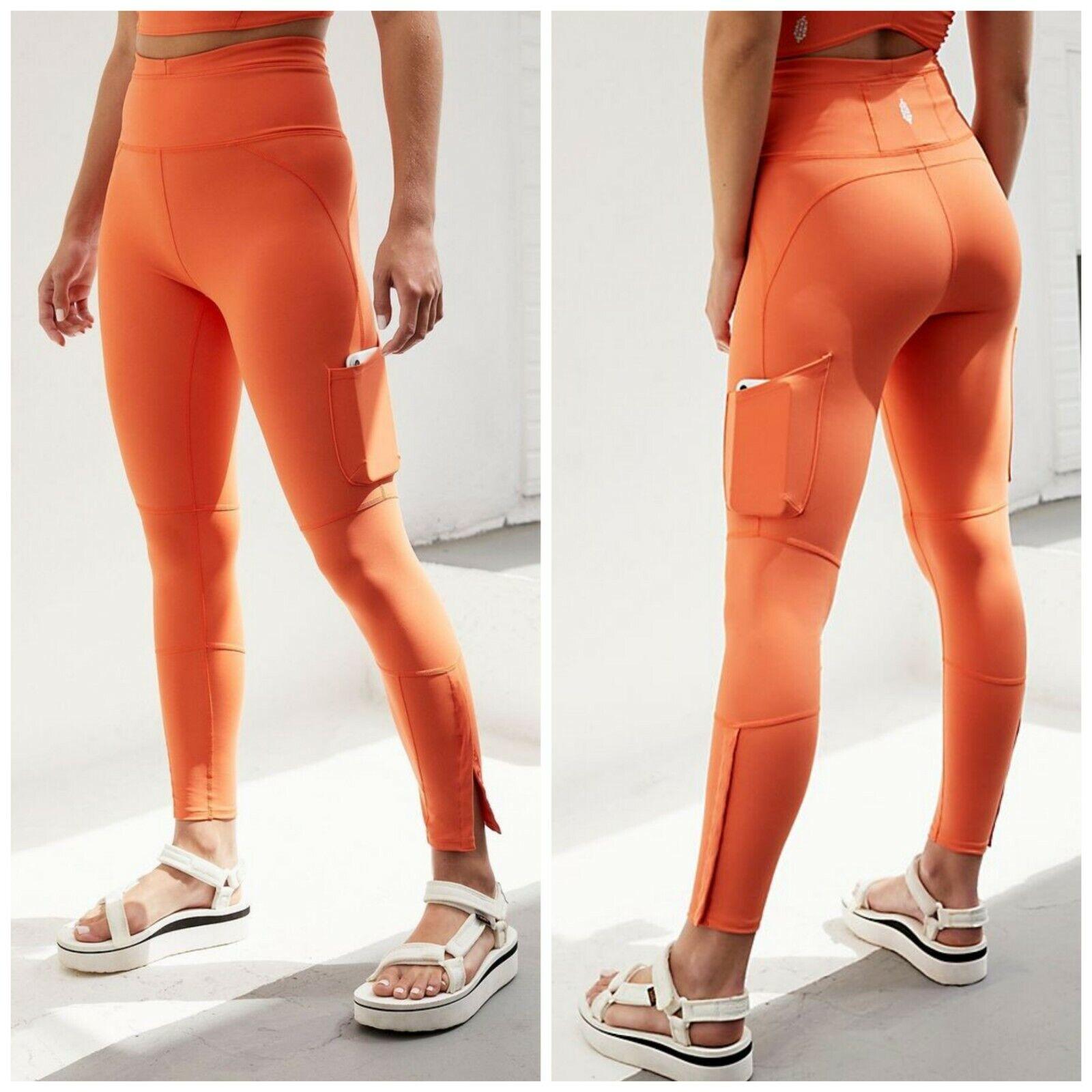 Free People Movement Orange High Rise Ankle Length Flex It Leggings Size Small
