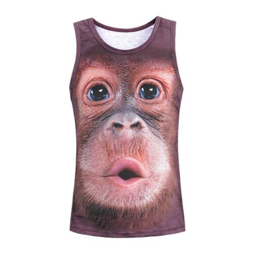 Mens Monkey Tank Tops Vest Sleeveless T Shirt 3D Print Gym Sport Fitness SE