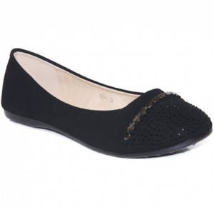 Unze Suedette 99 Casual Saldi Uk5 Pumps Flat Black Lg04 London Eu38 Diamante OqIrZO