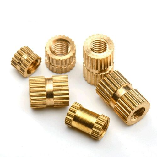 Knurl Insert Nut Threaded Round Metric Brass Solid Embedded M2.5-M6 Copper New