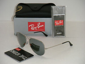 ray ban aviator 3025 62mm  Ray Ban Aviator 3025 RB 3025 003/40 62mm Silver Frame / Full ...