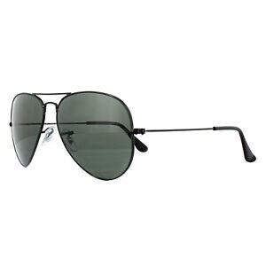 Ray-Ban-Sunglasses-Aviator-3025-002-58-Black-Green-Polarized-Small-55mm