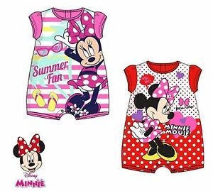 2af74cea9 Disney Minnie Mouse Baby Girls Summer Romper Body Suit 0-23 mths | eBay