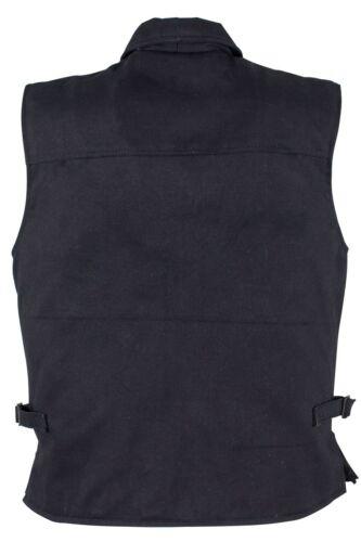 Mens riding Light weight patch holder cotton Shirt collar Denim Biker Blk Vest