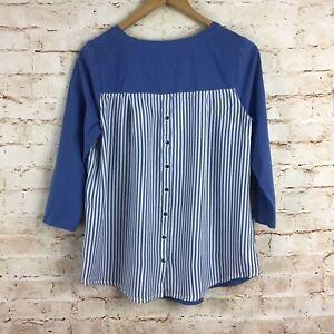 J-Jill-Blue-Button-Striped-Back-3-4-Sleeve-Blouse-Top-Medium-Petite