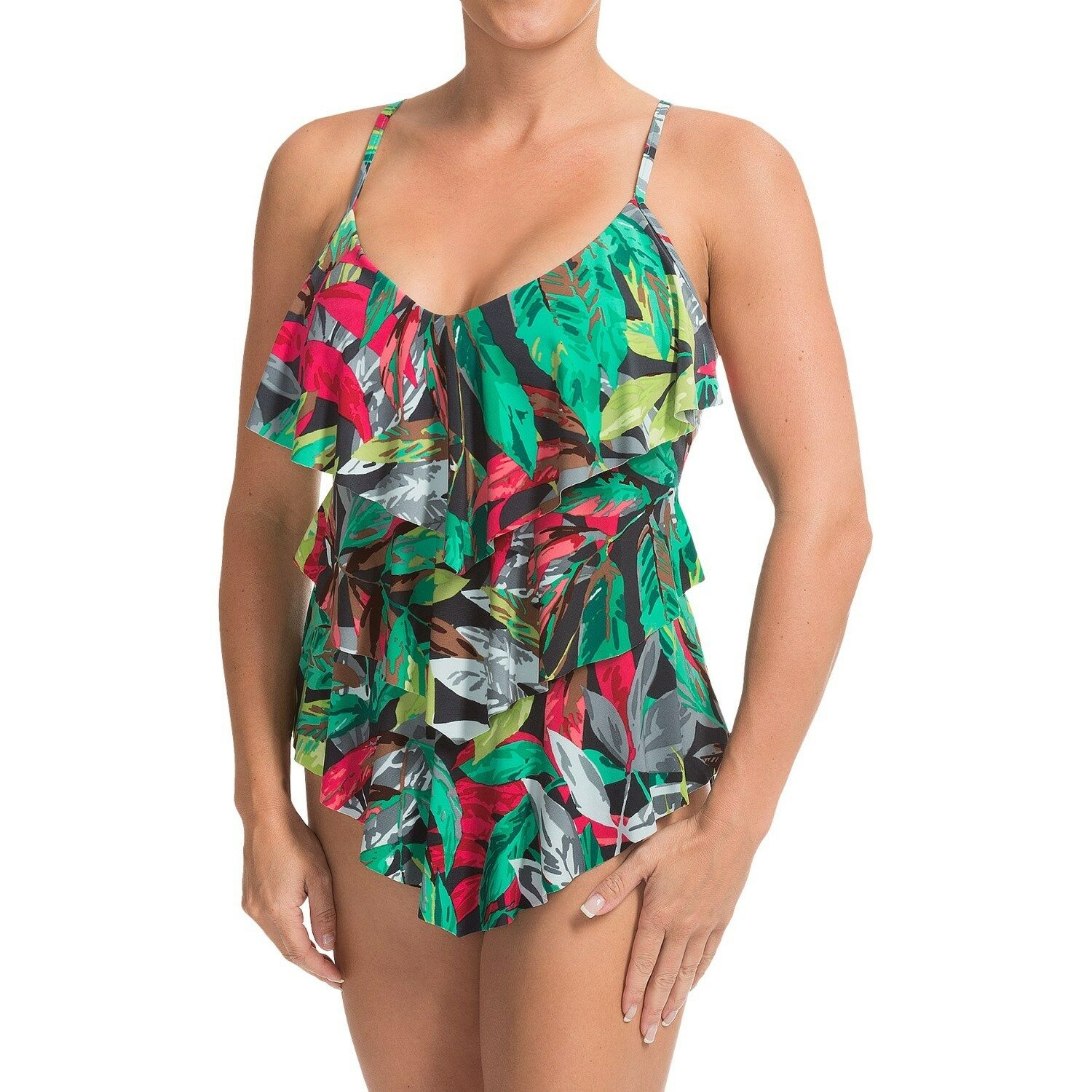New Magicsuit Miraclesuit Tankini Rita 10 40 Tiered Ruffled 2 PC Slimming Green
