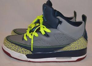 281a8f377980 Nike-Air-Jordan-Son-Of-Mars-Low-Gs-Grey-Blue-Yellow- Size 7Y