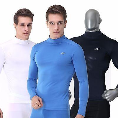 Winter Men Compression Under Shirt Long Sleeve Base Layer T Shirts Mock Neck Top