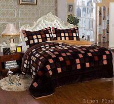 3 Piece Brown Tan Beige Flannel Plush Super Sherpa Blanket Queen Size 7 Ibs