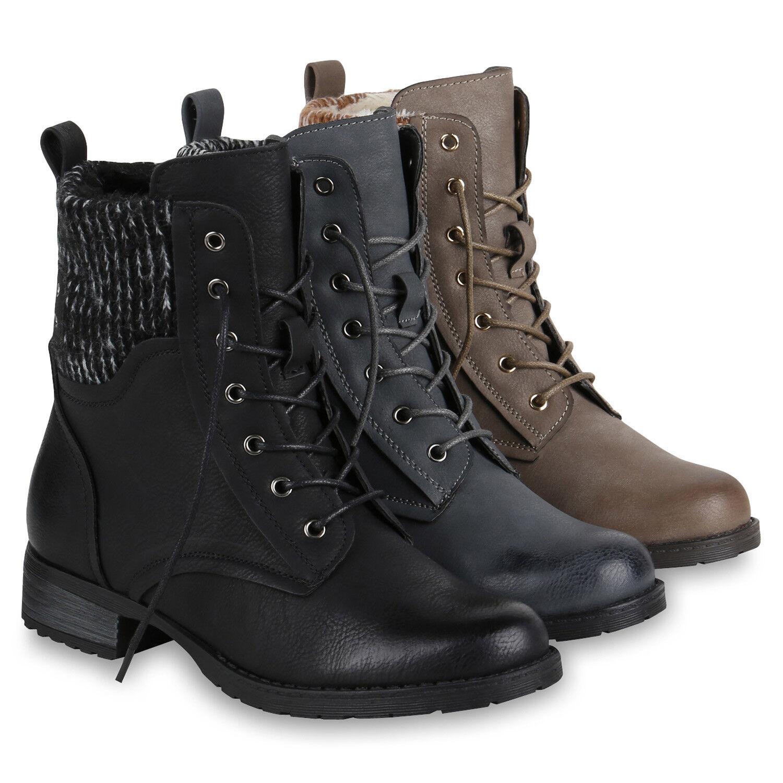 Damen Stiefeletten Schnürstiefele<wbr/>tten Strick Gefütterte Stiefel 819749 Schuhe