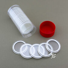 1 Capsule Tube & 20 40mm White Ring Air-Tite Coin Holders for Silver Eagles