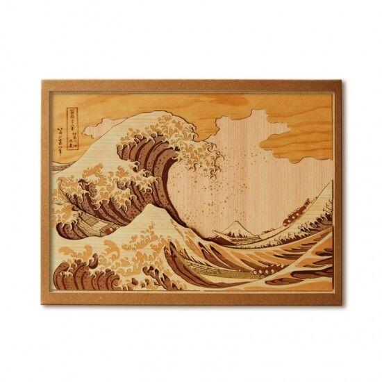 Japanese Wood Collage 3D-Art Handmade Kit Hokusai Ukiyoe Fugaku 46 Part3 30x21cm
