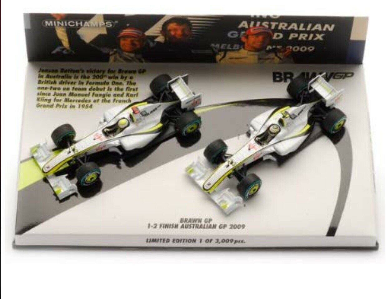 MINICHAMPS.Brawn GP Mercedes BGP. Button Barrichello GP Australia 2009. 1 43 NEW