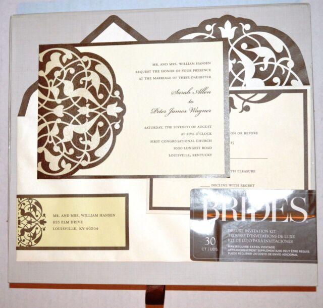 Brides Brown Ivory Deluxe Flourish Invitation Kit Set Of 30