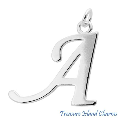 Grand Script Lettre A Initiale 925 Solid Sterling Silver Charm Pendentif Usa Made