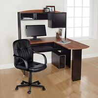 Computer Desk & Chair Corner L-shape Hutch Ergonomic Study Table Home Office
