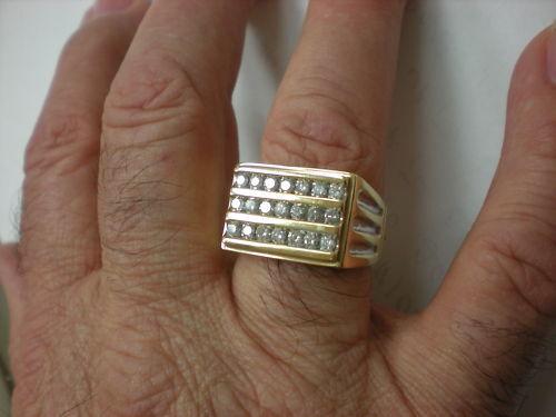 MENS 10K 2 TONE 21-DIAMOND 1.00CTW RING,7.5GR