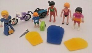 Vintage Playmobil Mix Lot Girl Figures Sleeping Bags Bike Trailer Suitcase Saw