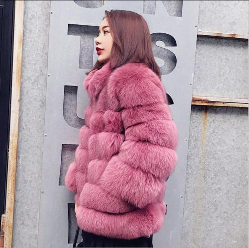 Chic Womens Lady Winter Warm Thick Outdoor Stand Collar Fur Mid Long Coats New
