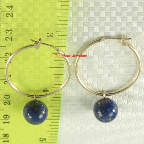 14k Yellow Gold 25 X 1.25mm Hoop Sets 9mm Blue Lapis Lazuli Dangle Earrings TPJ