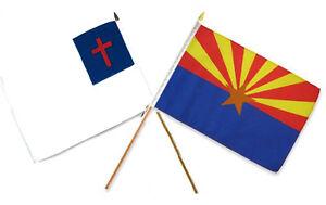 12x18 30.5cmx45.7cm En Gros Combo Christ Chrétien État Arizona Bâton Drapeau Pour AméLiorer La Circulation Sanguine