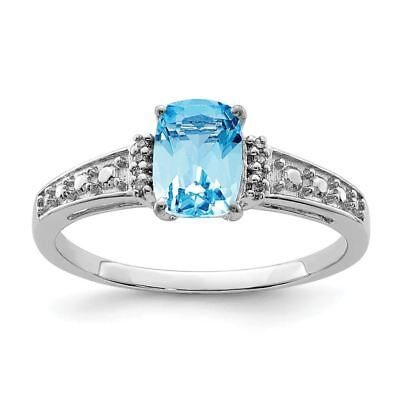 Fine Rings Flight Tracker Sterling Silver 2 Mm Diamond And Sky Blue Topaz Cushion Ring Msrp $155