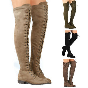 Womens-Suede-Lace-Up-Over-Knee-Thigh-High-Boots-Block-Heel-Winter-Autumn-Shoes