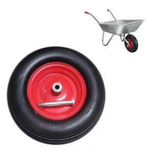 15-034-Wheelbarrow-Wheel-Tyre-PU-Foam-Puncture-Proof-Spare-Rubber-Axle-Rim-DCUK