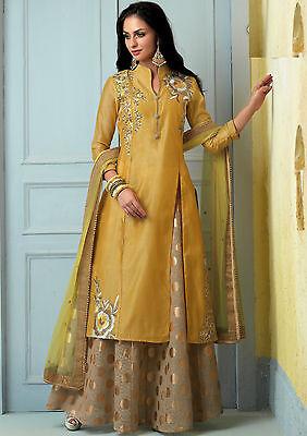 Shanaya Mustard Yellow Straight Silk Kurti / Kurta with Dupatta