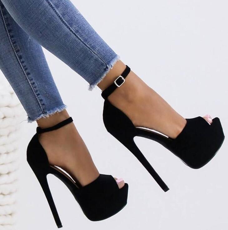 2019 European Womens Ankle Strap European Oxford Silettos Pump High Heel shoes