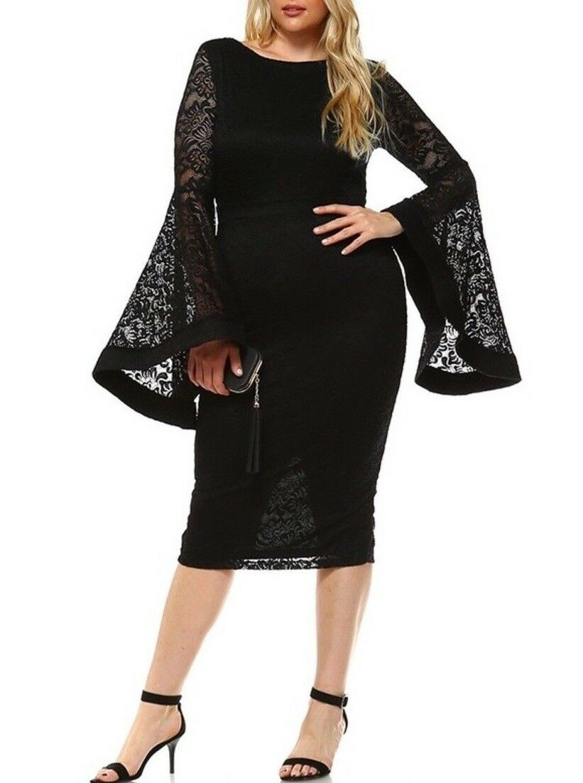 Plus Größe schwarz Floral Crochet Lace Ruffle Bell Sleeve Bodycon Dress