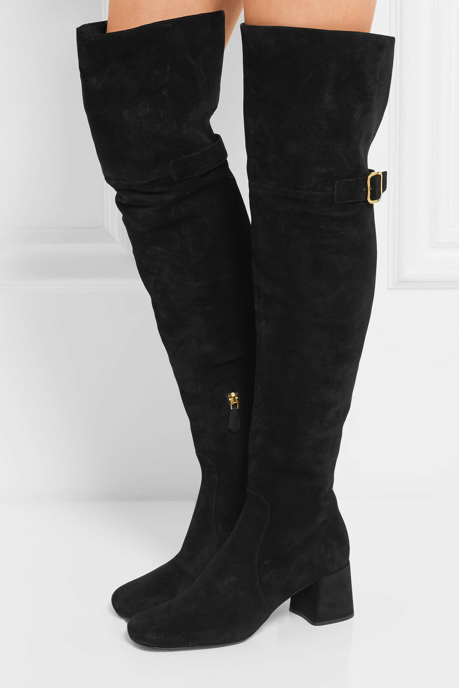1800  Prada Black Suede Over-The-Knee Boots  Mid Heel Buckle Booties 38.5