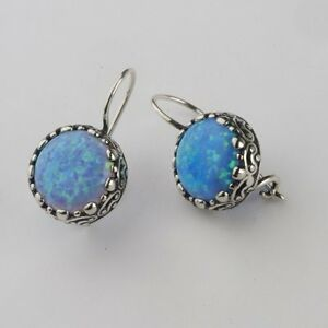 77f9713d116e6 Details about E01869OP SHABLOOL DIDAE ISRAEL Blue Fire Opal 925 Sterling  Silver Round Earrings