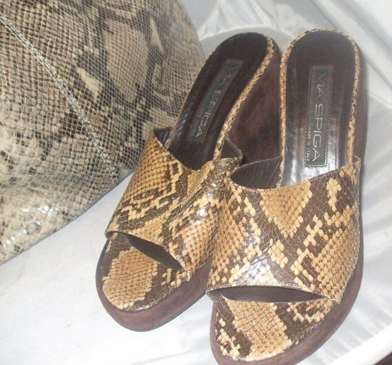 Via Spiga 7.5 Made in  Python Pattern Leather Slip On Women's Sandal
